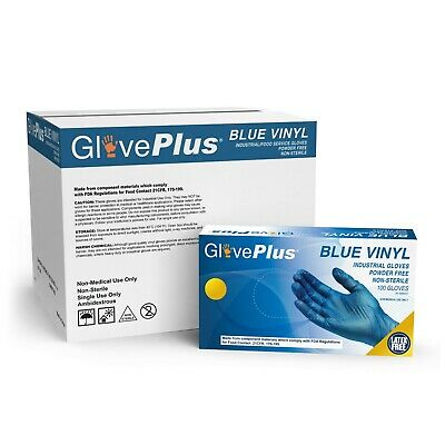 Gloveplus Blue Vinyl Industrial Latex Free Disposable Gloves Box Of 100