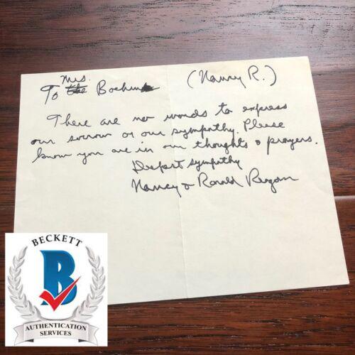 RONALD REAGAN * BAS  * Handwritten AUTOGRAPH Condolence Letter SIGNED