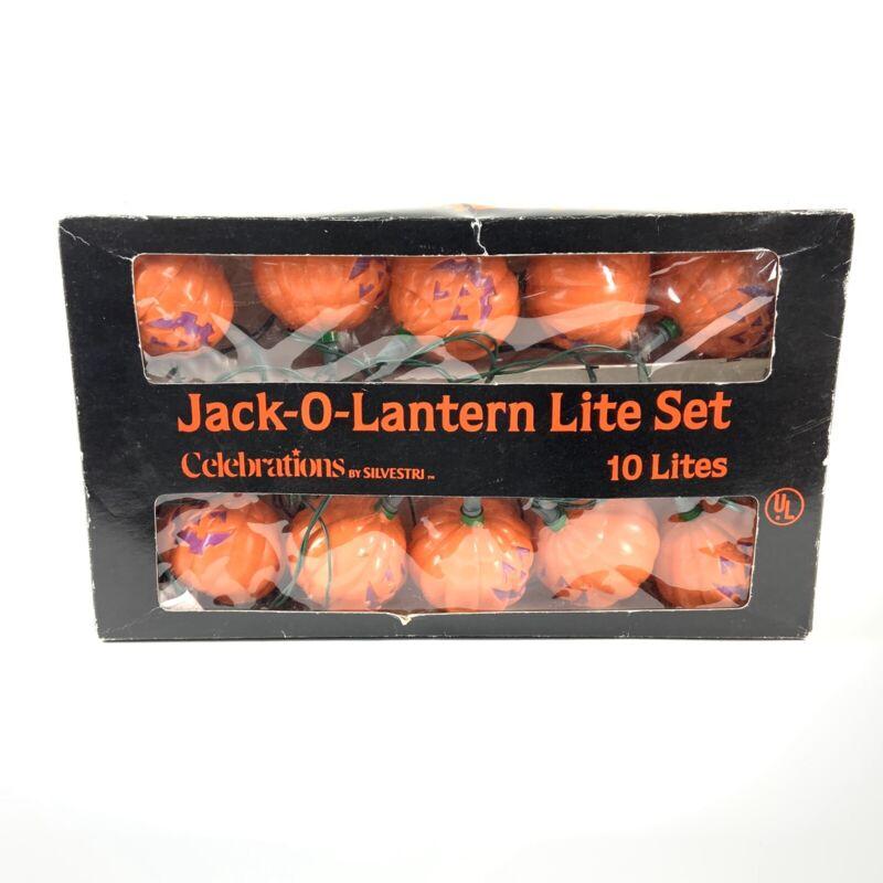 Vintage Silvestri 10 Halloween Pumpkin Jack-o-Lantern Blow-Mold Lights Set