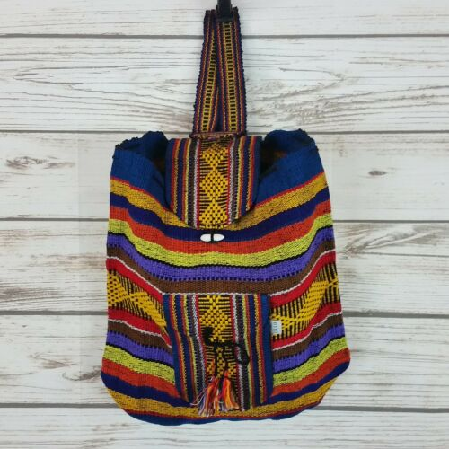 Mexican Backpack Handmade Bag Tote Blue/Yellow Blanket Boho Hippie Morral
