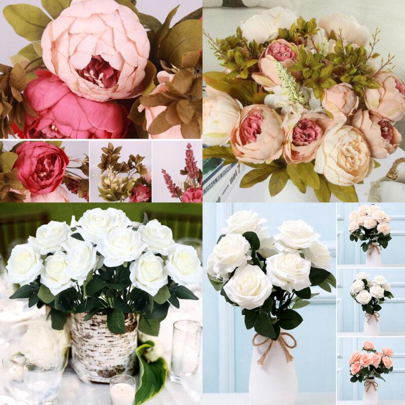 Artificial Bouquet 10 Head Rose Silk Flowers Fake Leaf Weddi