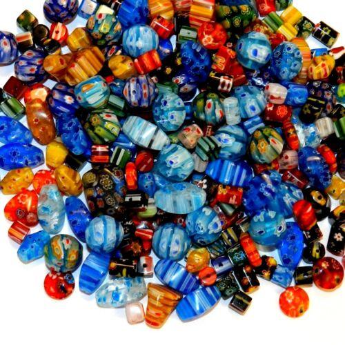 GX4443 Assorted Color Mixed Shape 4mm - 20mm Millefiori Flower Glass Beads 8oz