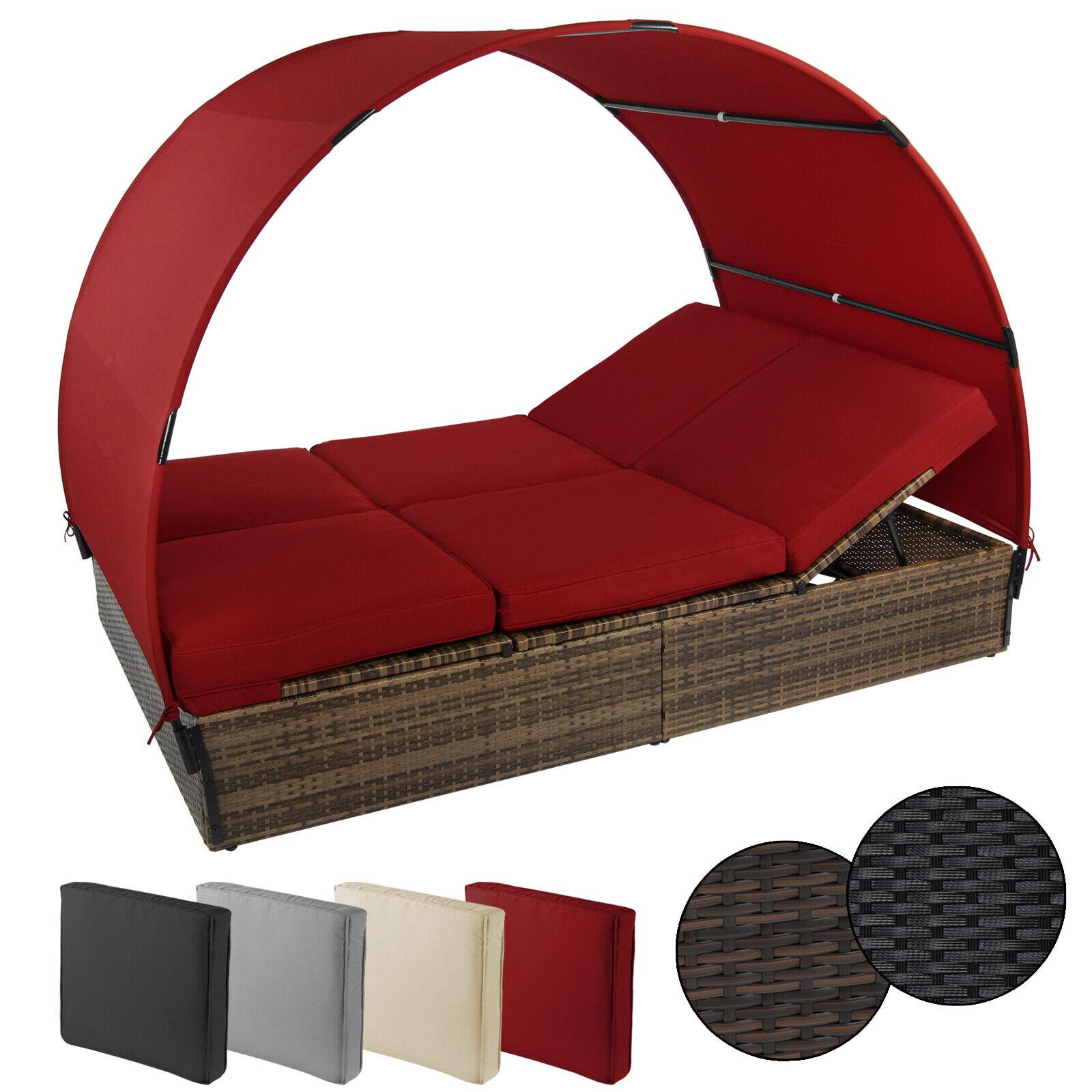 Sonnenliege Polyrattan Möbel Liege Gartenliege Doppelbett Sonnendach