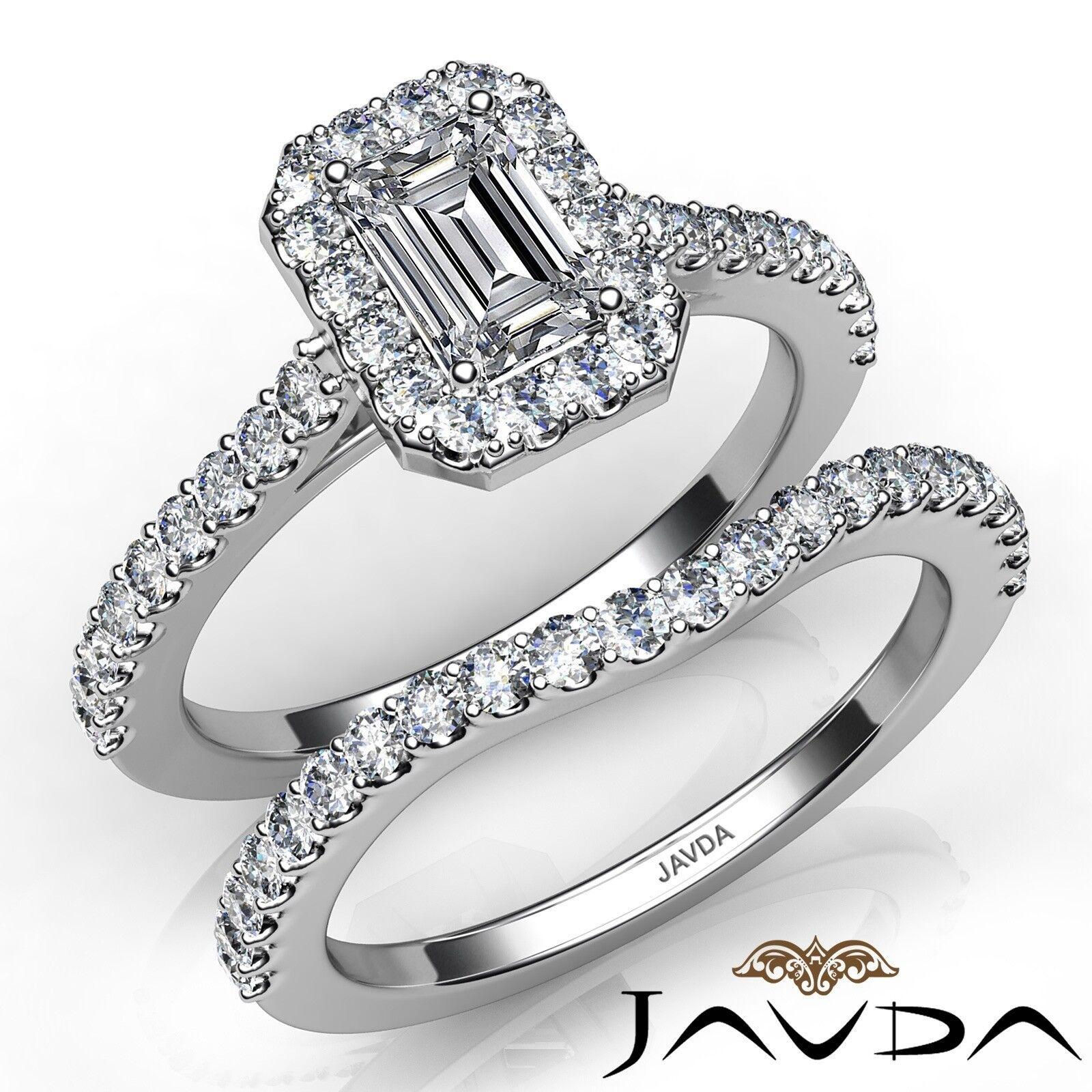 1.65ctw Sidestone Bridal Halo Emerald Diamond Engagement Ring GIA F-VS2 W Gold