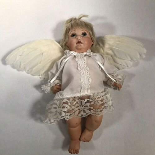 Baby Infant Angel Doll Handcrafted Bisque Porcelain Feather Wings Life Like