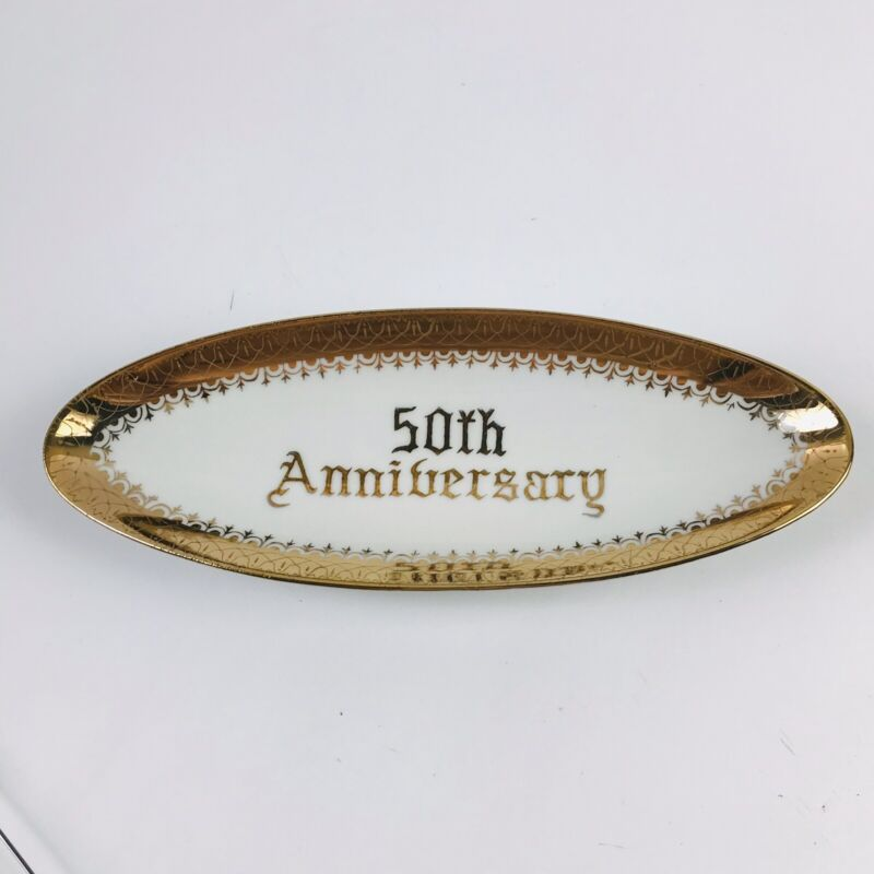 Norcrest 50th Anniversary Fine China, Long Boat Tray - Appetizer/ Candy Dish