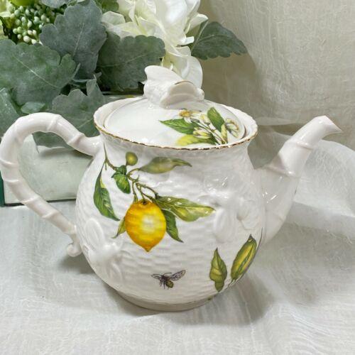 Grace Fine Porcelain LEMONS BUTTERFLIES BEES Teapot Coffee  New