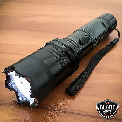 Metal POLICE Stun Gun 980 Million Volt Rechargeable LED Flashlight + Taser Case