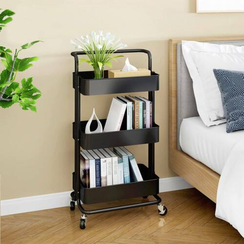 3-Tier Portable Display Folding Bookshelf Storage Rolling Ut