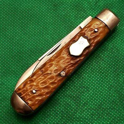 Old Vintage Challenge Bridgeport Bone Stag Swell End Jack Pocket Knife Knives...