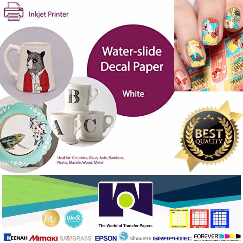"INKJET Printable Waterslide Decal Paper WHITE, 5 sheets, 8.5""x11"" A++"