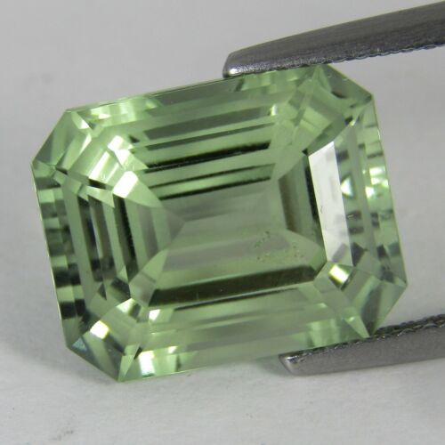 7.81Cts Natural Green Amethyst (prasiolite)Emerald Cut Loose Gemstone REF VDO