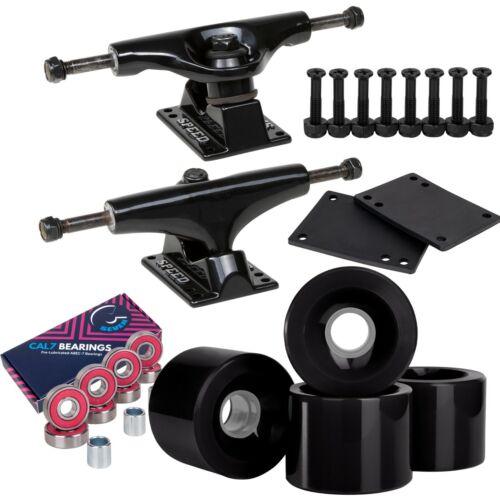 Cal 7 114mm Black Trucks with Wheels, Bearings, and Hardware Set