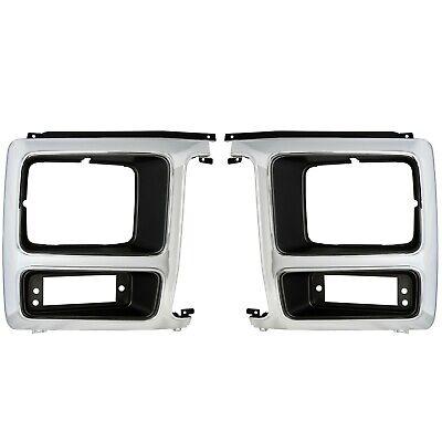 1982~1986 Ford Pickup Truck Headlight Trim Bezel Door Chrome/Black Pair 2 PCS