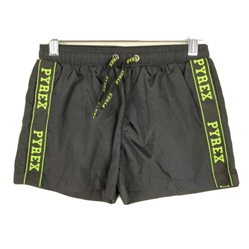 PYREX Kids Black Shorts Drawstring Neon Logo Brief Lining Size TG.8