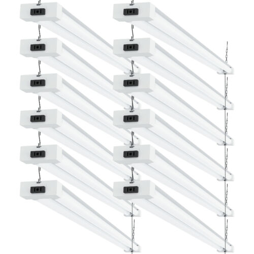 Sunco 12 Pack Frosted LED Utility Shop Light 40W (260W) 6000K Daylight Deluxe