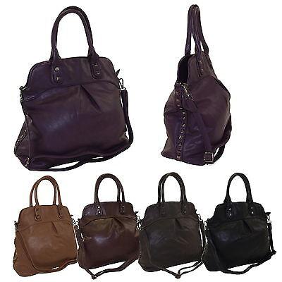 MAHEL-Collection Damen Kunstleder Handtasche Shopper Bag Lederoptik AM-55 ()