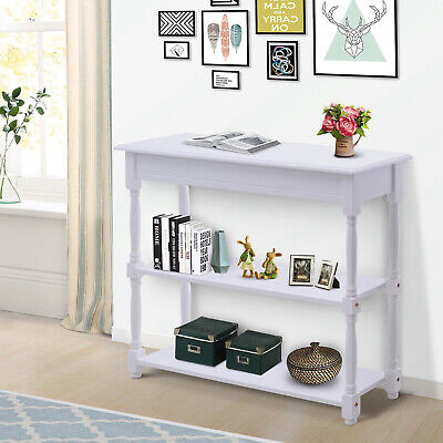 3-tier Accent Sofa Console Table Wood Hallway Entryway Bookshelf Home Furniture