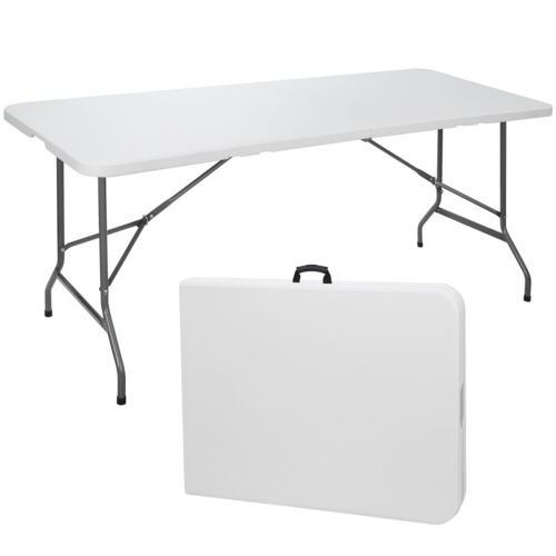 6′ Portable Folding Table Plastic Indoor Outdoor Picnic Party Camp Dining White Furniture