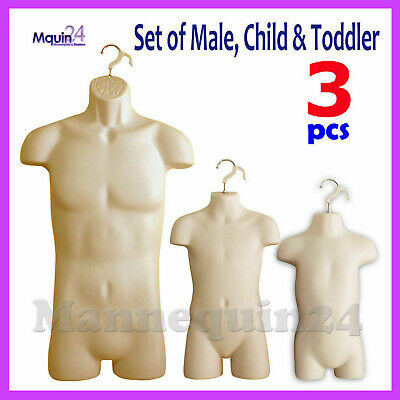 3 Flesh Mannequin Male Child Toddler Torso Dress Forms 3 Hanging Hooks