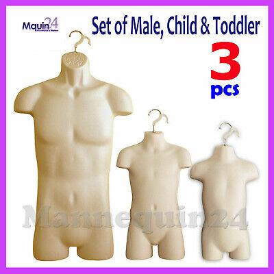 3 Flesh Mannequin Male Child Toddler Torso Dress Forms 3 Hanging Hooks
