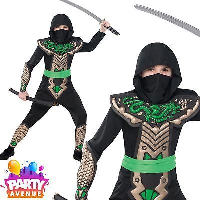 Japanese Costume For Boys (Dragon Ninja Boys Historical Japanese Assassin Fancy Dress)