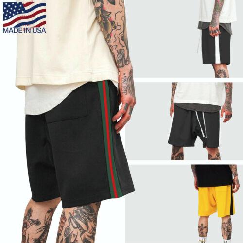 Mens Basketball Stripe Track Shorts Casual Elastic Waist Training Hip Hop Gym
