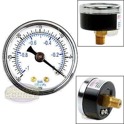 Quality 18 Npt 1.5 Vacuum Air Pressure Gauge 0 -30 Psi Center Back Mount New