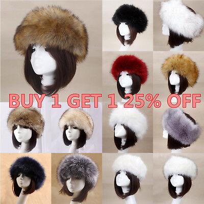 Women Russian Thick Fluffy Cap Fake FAUX Fur Headband Hat Winter Ear Warmer - Fur Headband