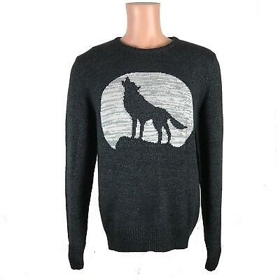 NEW Men's Gray Urban Pipeline MOON HOWLING WOLF Print Soft Pullover Crew Sweater