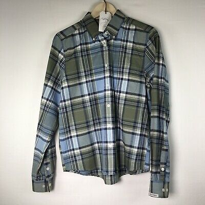 Rockies Authentic Western Wear Ladies Blue/Green/White Plaid Button Down Size M - Ladies Western Wear