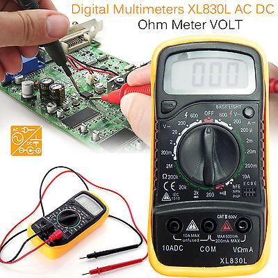Volt Tester Digital Multimeter Voltmeter Ammeter AC DC Meter OHM With Test Leads