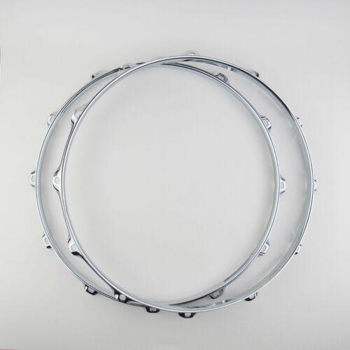 "2 NEW 14"" Snare Drum Hoops 12 Holes 2.3mm Chrome 1 Batter 1 Snare Triple Flange"