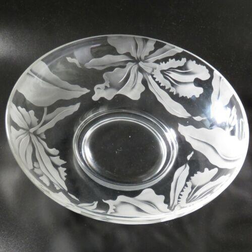 "Vintage Hawaiian Etch Glass Bowl Orchid Deep etch Centerpiece Bowl 12"""