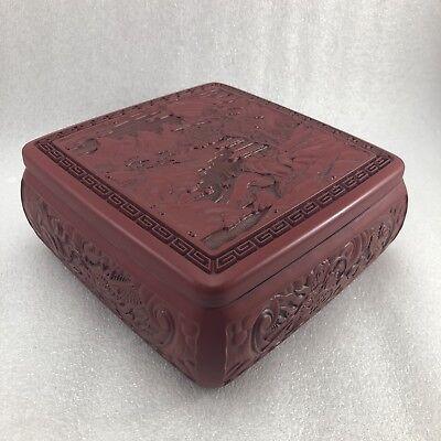 JJ32 Asian Red Cinnabar trinket Box 6