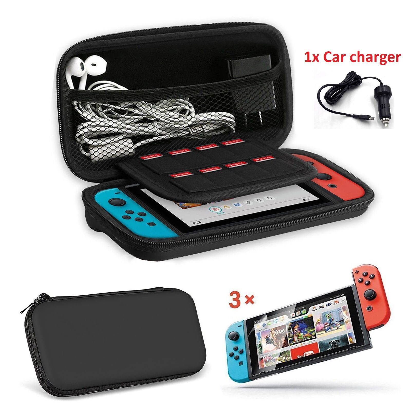 5pc Kit Nintendo Switch Travel Carrying Case Bag Car Charger