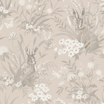 Holden Decor Non Woven Patterdale Country Hares Taupe Country Meadow Wallpaper