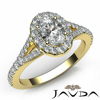 Halo Split Shank Oval Diamond Engagement French U Pave Set Ring GIA F VS2 1 Ct
