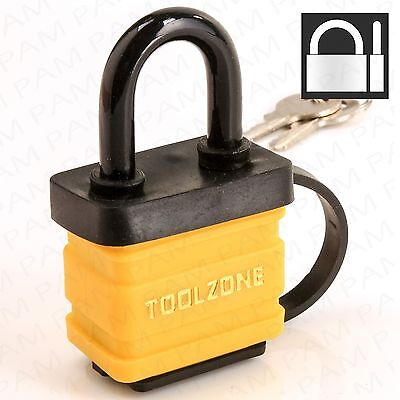 LAMINATED WEATHERPROOF Padlock Coated Outdoor Security Lock + 2 Security Keys