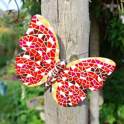 Red Mosaic Butterfly Garden Wall Art Ornament Outdoor Insect Feature ()