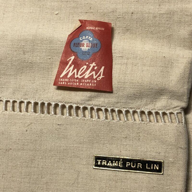 Pair of New Antique French Metis Linen Sheets FLEUR BLEUE Ladder Stitch Border