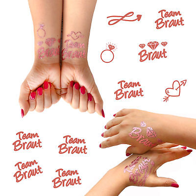 oos JGA Tattoo Set Braut - Team Braut Hochzeit Rose Gold (Hochzeit Temporäre Tattoos)