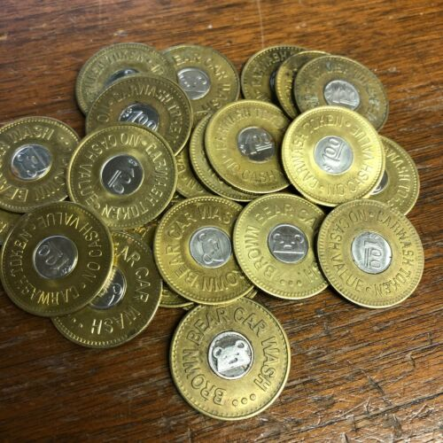 "25 x $1 BROWN BEAR CAR WASH Tokens, 1.073"" Bi-Metal, Seattle WA (Active)"