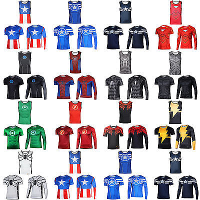 Superhero Marvel Avengers Compression T-shirt Fitness Sports Cycling Shirts - Male Superhero