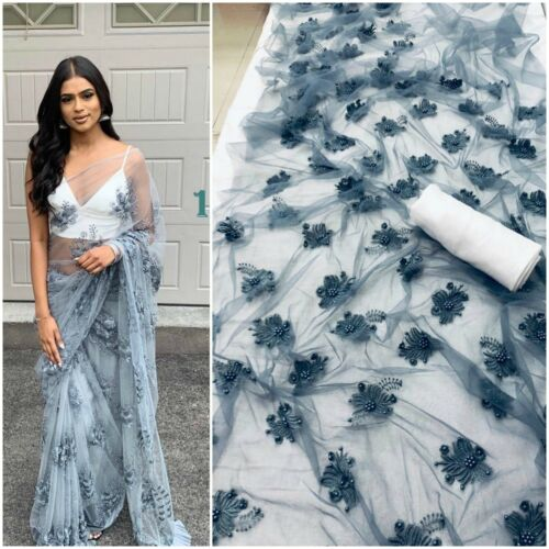 Gray Floral Flower Work Net Saree Sari Wedding Blouse Women Indian Ethnic Wear