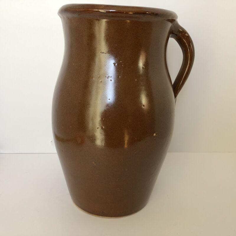 Antique Brown Stoneware Pitcher Crock