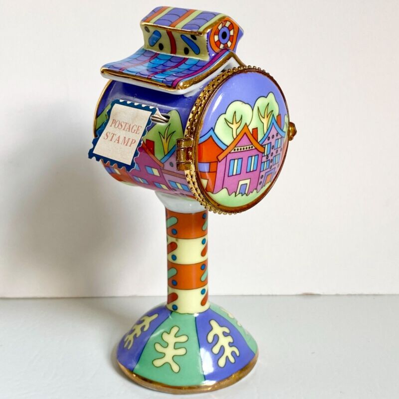 Vintage Porcelain Mailbox Stamp Dispenser Holder Footed Pedestal Trinket Box