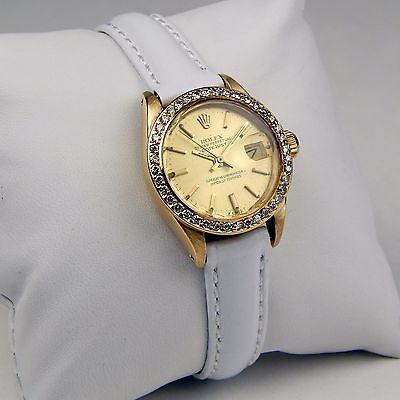 Ladies Rolex Presidential DateJust 6917 18 kt Yellow Gold White Strap sku 9645