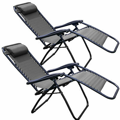 Tahoe Appliances Zero Gravity Chair Yard Lounge Patio Lawn Recliner, Black (2 Pack)