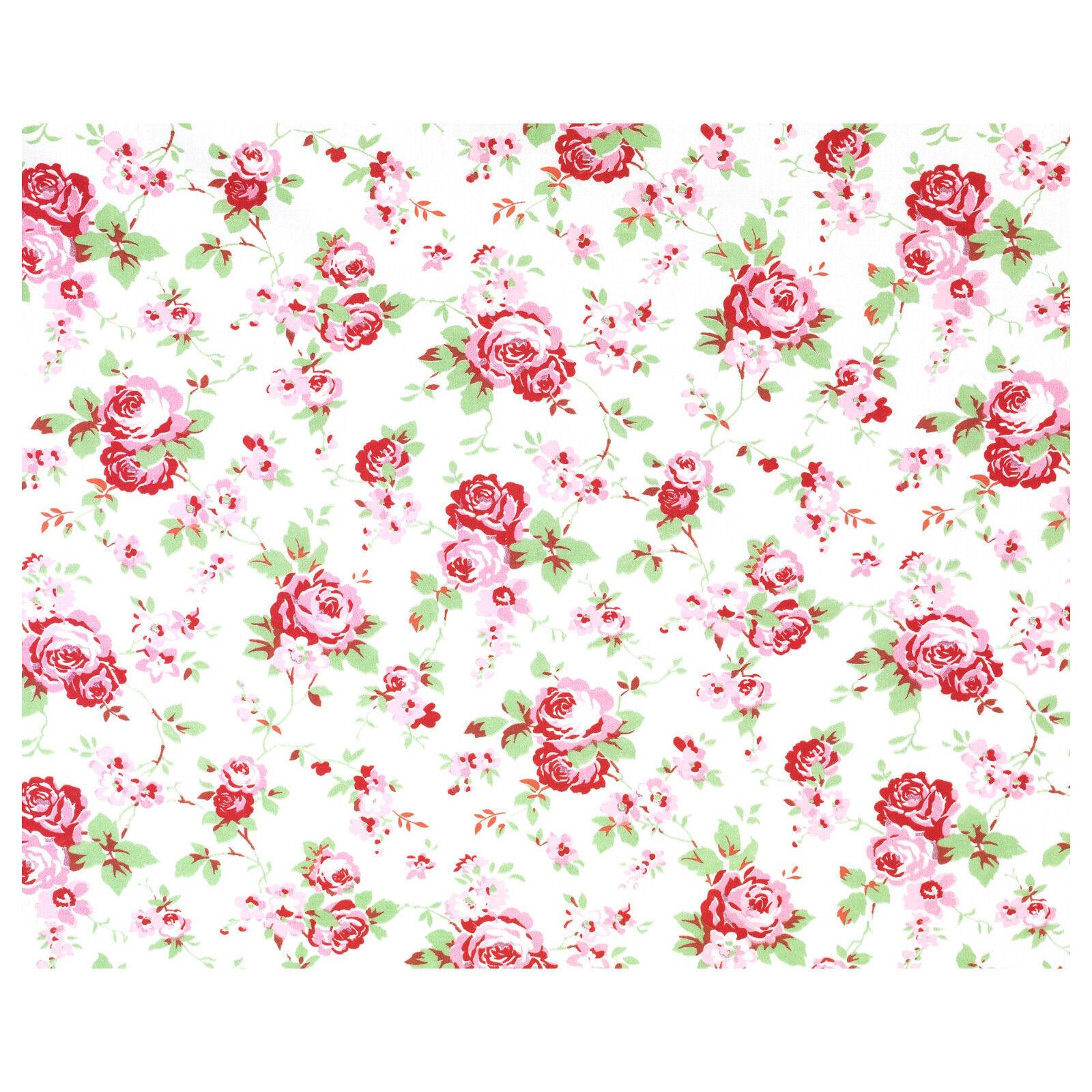 Ikea Stoff Meterware Rosali weiß 50 x 150 cm Baumwolle Rosen Handarbei nähen neu